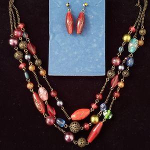 Vintage Avon Multicolor Necklace Earrings Gift Set